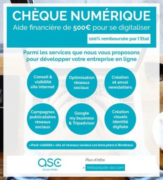 Studio ASC, chèque numérique, aide financière de 500€ pour se digitaliser